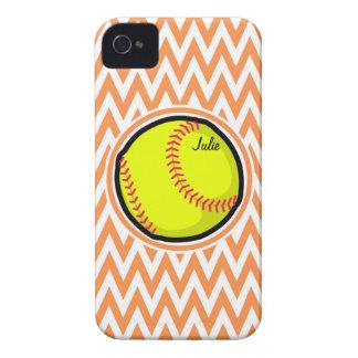 Softball; Orange and White Chevron iPhone 4 Case-Mate Cases