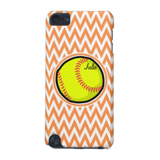 Softball; Orange and White Chevron iPod Touch (5th Generation) Cases