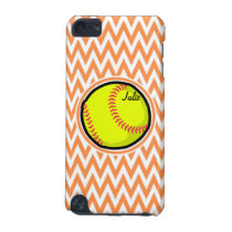 Softball; Orange and White Chevron iPod Touch (5th Generation) Cover