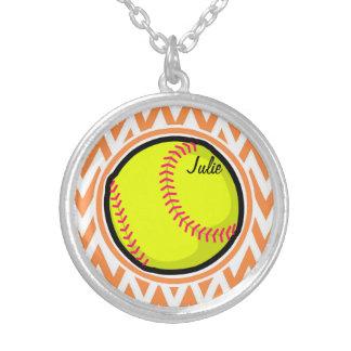 Softball; Orange and White Chevron Necklaces