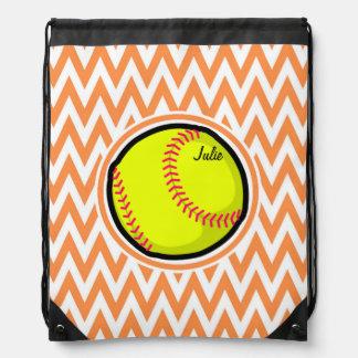 Softball; Orange and White Chevron Cinch Bag