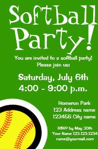 softball birthday invitations zazzle