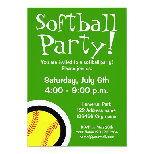 softball party invitations for birthdays and bbq zazzle com