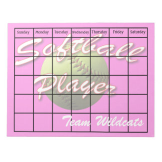 Softball Pink Player Scheduling Calendar Blank Note Pad
