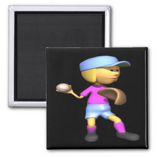 Softball Pitcher 2 Inch Square Magnet