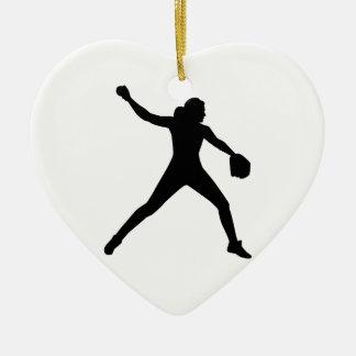 Softball pitcher ceramic ornament