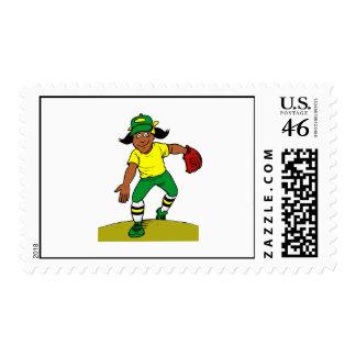 Softball Pitcher Stamp