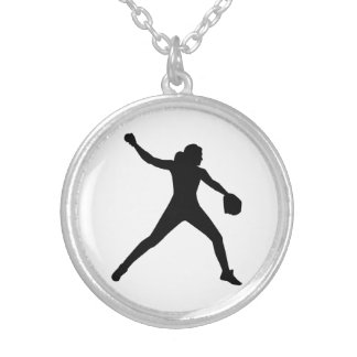 Softball pitcher silver plated necklace