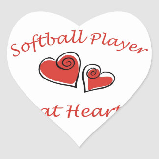 Softball Player at Heart Heart Sticker