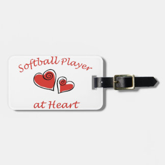Softball Player at Heart Tag For Bags