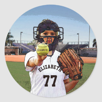 Softball Player Catcher With Your Name And Number Classic Round Sticker