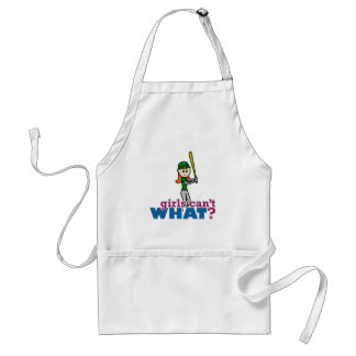 Softball Player Girl in Green Adult Apron
