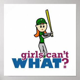 Softball Player Girl in Green Print