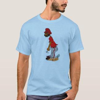 Softball player on base with Beer shirt