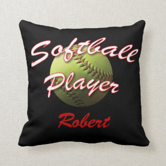 Softball Player on Black with Name Throw Pillow