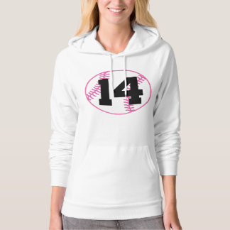 Softball Player Uniform Number 14 Gift Hooded Pullover