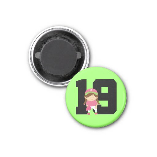 Softball Player Uniform Number 19 (Girls) Gift 1 Inch Round Magnet