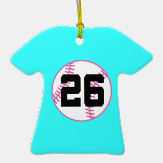Softball Player Uniform Number 26 Gift Double-Sided T-Shirt Ceramic Christmas Ornament