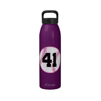 Softball Player Uniform Number 41 Gift Water Bottle