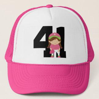Softball Player Uniform Number 41 (Girls) Gift Trucker Hat