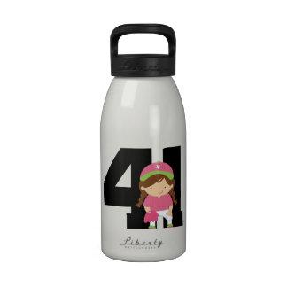 Softball Player Uniform Number 41 (Girls) Gift Drinking Bottle