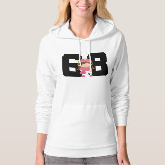 Softball Player Uniform Number 68 (Girls) Gift Hooded Pullover