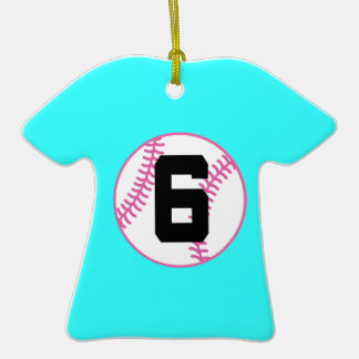 Softball Player Uniform Number 6 Gift Double-Sided T-Shirt Ceramic Christmas Ornament