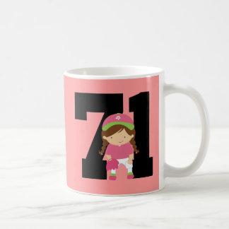 Softball Player Uniform Number 71 (Girls) Gift Coffee Mug