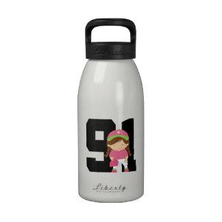 Softball Player Uniform Number 91 Girls Gift Water Bottle