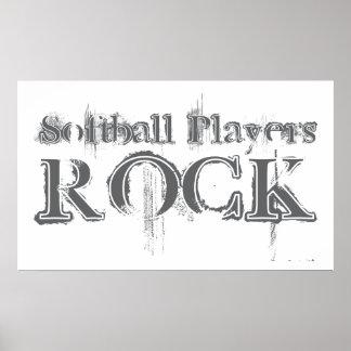 Softball Players Rock Poster