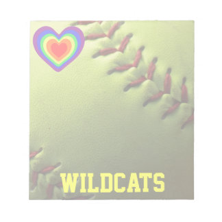 Softball Pride Rainbow Heart and Name Notepad