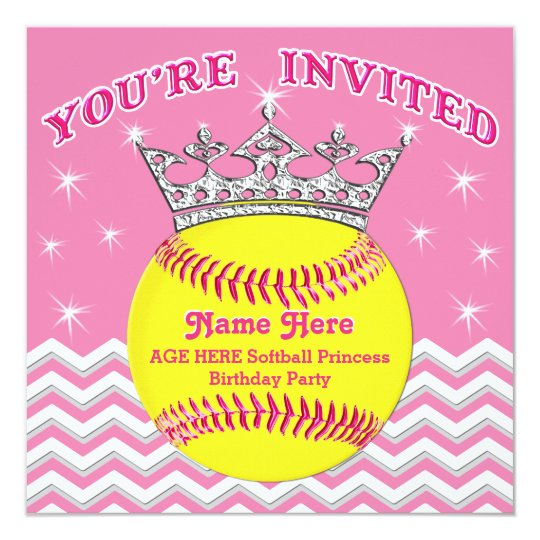 Softball Princess Softball Birthday Invitations – Princess Photo Birthday Invitations