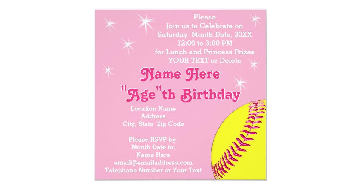Softball Princess Softball Birthday Invitations – Softball Birthday Invitations