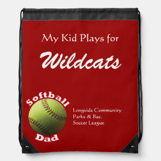Softball Proud Dad Drawstring Backpack