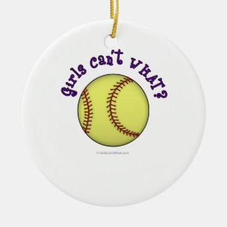 Softball-Purple Double-Sided Ceramic Round Christmas Ornament