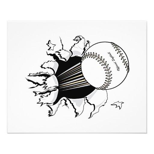 softball que rasga a través de gráfico de la bola  flyer personalizado