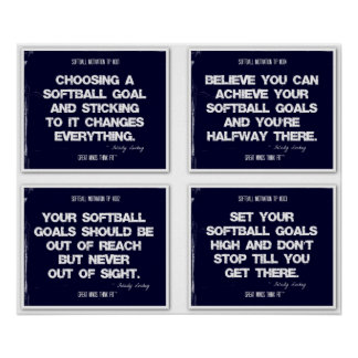 Softball Quotes Blue Collage 1-4 Poster