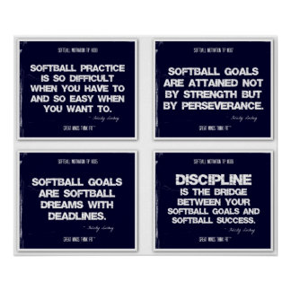 Softball Quotes Blue Collage 5-8 Posters