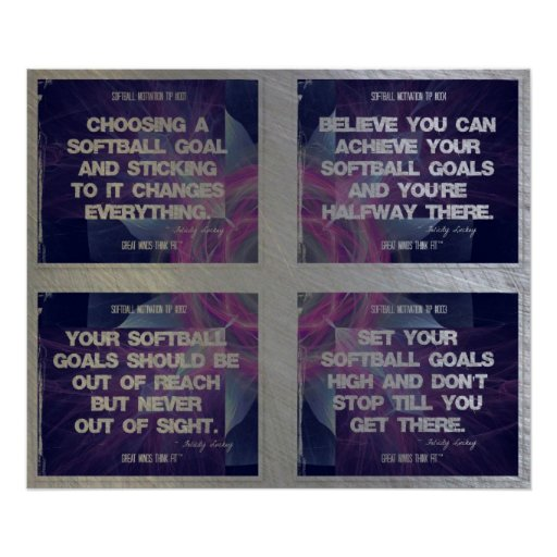 Softball Quotes Geometric Collage 1-4 Poster
