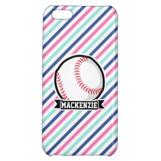 Softball; Rayas azules, rosadas, y blancas,