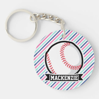 Softball; Rayas azules, rosadas, y blancas, Llavero