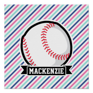 Softball; Rayas azules, rosadas, y blancas, Poster