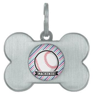 Softball; Rayas azules, rosadas, y blancas, Placa Mascota