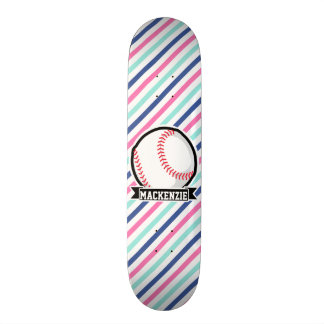 Softball; Rayas azules, rosadas, y blancas, Tablas De Skate