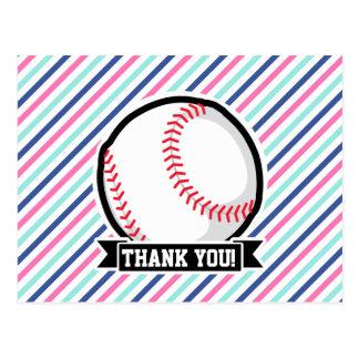 Softball; Rayas azules, rosadas, y blancas, Postal