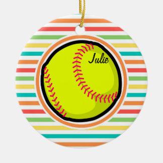 Softball; Rayas brillantes del arco iris Adorno De Navidad