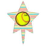 Softball; Rayas brillantes del arco iris Figura Para Tarta