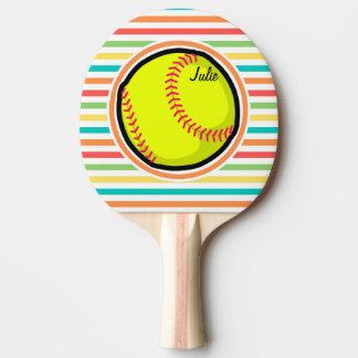 Softball; Rayas brillantes del arco iris Pala De Tenis De Mesa