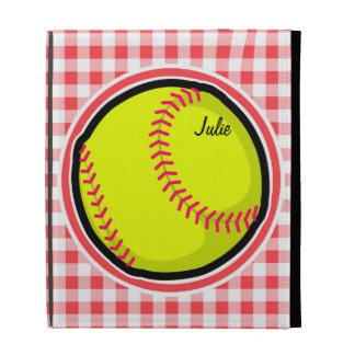 Softball Red and White Gingham iPad Cases
