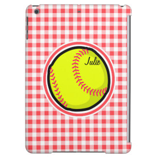 Softball Red and White Gingham iPad Air Cases